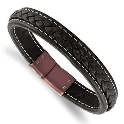 Picture of Stainless Steel Brown IP-Plated Genuine Leather 8.25 Inch Bracelet