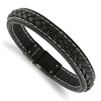 Picture of Stainless Steel Black IP-Plated Genuine Black Leather 8.25in Bracelet