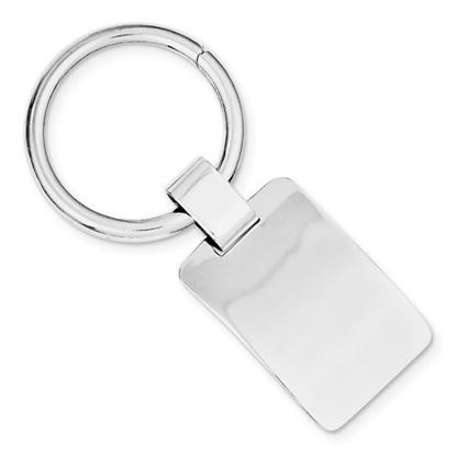 Sterling Silver Engravable Rhodium-plated Rectangular Key Chain