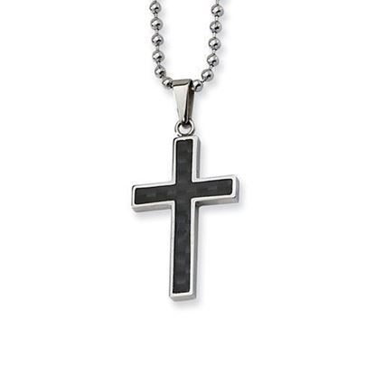 22 Inch Stainless Steel Carbon Fiber Inlay Cross Necklace