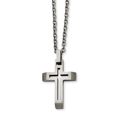 20 Inch Stainless Steel Cut-out Cross Necklace